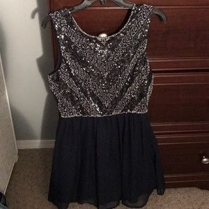 Navy and Silver Formal Dress